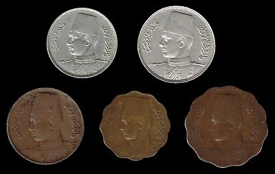EGYPT, Kingdom :- 5 different King Farouk, (1936 - 52) circulation coins. AP6229