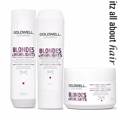 Goldwell Blondes & Highlights Anti Brassiness Shampoo Condition Treatment Trio