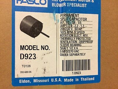 NEW Fasco D923 Furnace  Air Handler Blower Motor 1/3 HP 1075 RPM 230V 3 Speed