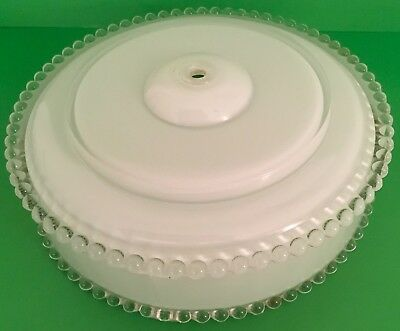 Vintage White Frosted Clear Glass Beaded Ceiling Light Fixture Shade Only