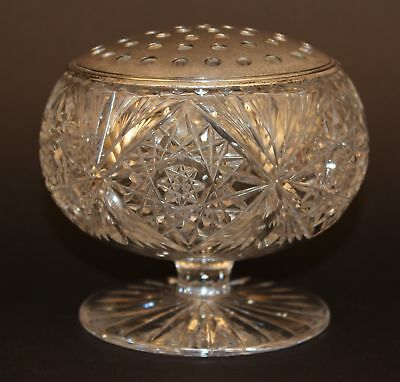 Abp American Brilliant Cut Glass Potpourri Footed Bowl W/silverplate Top