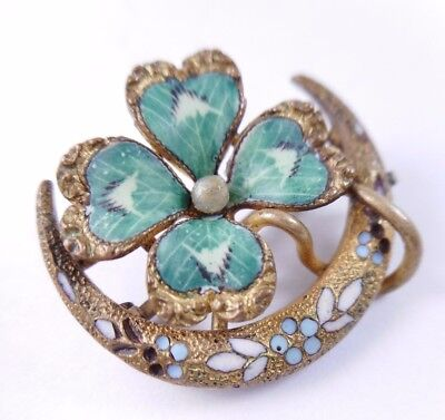 Antique Victorian Gold Filled Enamel Green Clover in Crescent Moon Pin Brooch