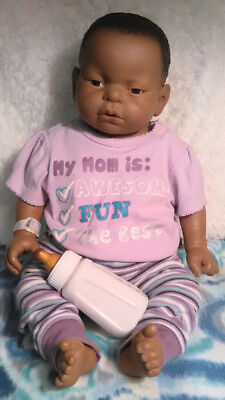 REALCARE BABY THINK IT OVER G6 AFRICAN AMERICAN GIRL PACKAGE+Diapers,Keys,Bottle
