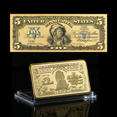 WR US 1899 $5 Indian Chief Silver Certificate Gold Banknote & Gold Clad Bar Set