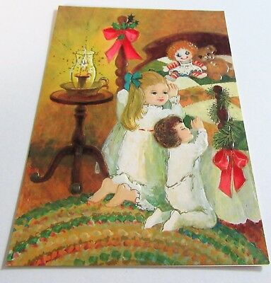 Used Vtg Christmas Card Old Fashioned Kids Kneeling by Bed Praying Candle Doll
