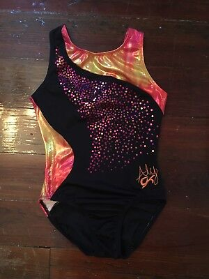 GK Elite Aly Raisman Pro Leotard Black Hot Pink Sequins Sleeveless Foil Sz AXS