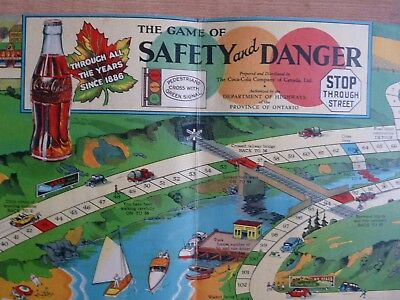 VINTAGE 1930's COCA COLA BOARD GAME The Game of Safety and Danger - Rare - Sign
