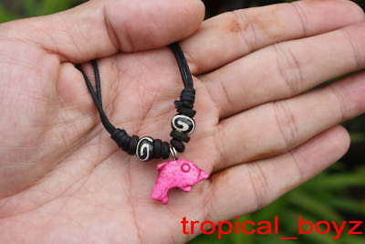 10 Handmade Pink Dolphin Spiral Bone Coconut Shell Beads Necklaces Wholesale