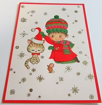 Used Vtg Christmas Card Cute Child in Big Hat w Kitten in Santa Hat and Mouse