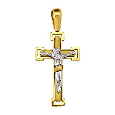 """14k solid two tone gold crucifix cross(1.7""""inch/5.5gr)"""