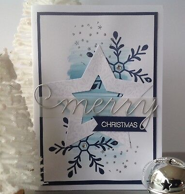 Handmade Christmas card; Blue wash star- navy blue.