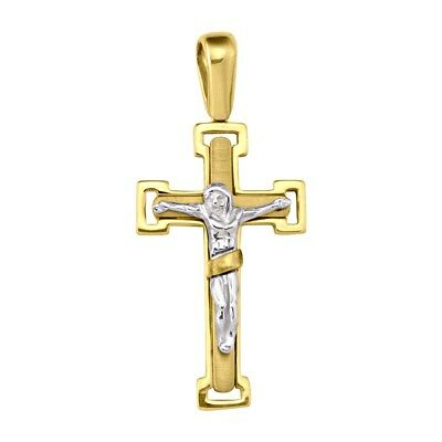 """18k solid two tone gold crucifix cross(1.7""""inch/6.7gr)"""