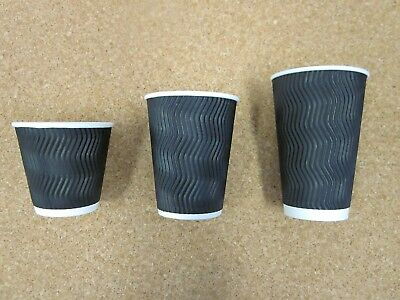 Disposable Coffee Cups 8oz 12oz 16oz Triple Wall Takeaway Paper Cups With Lids