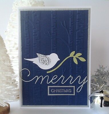 Handmade Christmas card; Peace bird - navy blue.