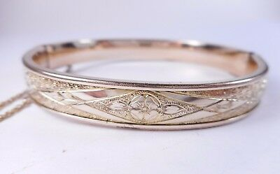 Vtg Signed SOB Co. (Bigney) Gold Filled Etched Bangle Bracelet Victorian Revival
