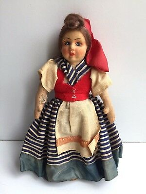 Vintage Rare Italian Peasant Girl Doll Molded Paper Cloth Hand Painted Face