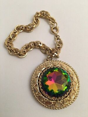 "Gorgeous Vintage "" Huge Jeweled Charm "" Bracelet - Schiaparelli"