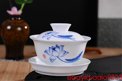 gaiwan teacups Chinese Kung Fu tea cups and saucers lotus ceramic cups