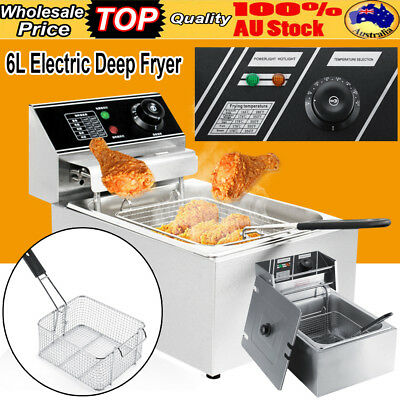 AU SHIP 6L Commercial Electric Deep Fryer Frying Basket Chip Cooker Fry Scoop