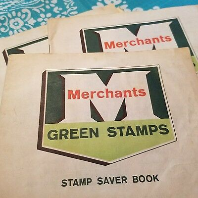 Vintage ~ Merchants Green Stamp Saver Books ~ 3 Books ~1 Full & 2 Partial Books