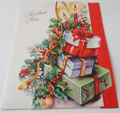 Used Vtg Christmas Card Die Cut Pile of Presents w Candle Holly Berries Greenery