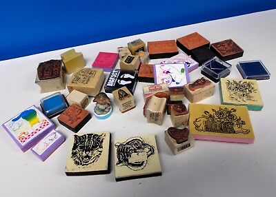 Mixed Assortment Lot Of 34 Scrapbooking Rubber Stamps & Ink Pads ACKTONN