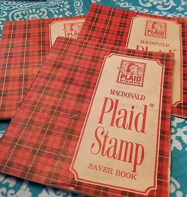 Vintage ~ MacDonald Plaid Stamps Saver Book ~ 3 Books ~ 1 Full & 2 Partial