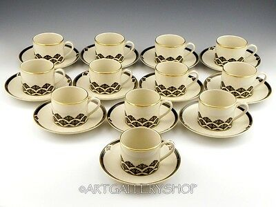 Pickard U.S.A. ENSEMBLE BLACK & GOLD Hand Decorated CUPS AND SAUCERS Set of 12