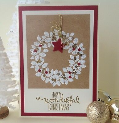 Handmade Christmas card; - Classic wreath.