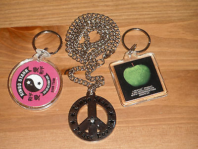 BEATLES Ringo Starr LOT peace love necklace & 2 KEYCHAINS