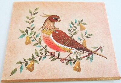 Used Vtg Christmas Card Partridge in a Pear Tree w Golden Accents