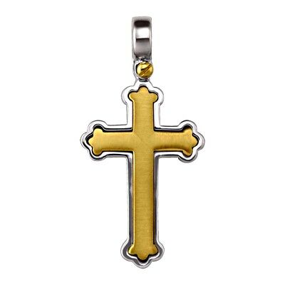 """14k solid two tone gold unique Orthodox cross(1.3""""inch/3.7gr)"""