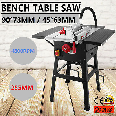 """VEVOR 10"""" 250mm Bench Table Saw 1500w 240v Leg Stand & Steel Table Extensions"""