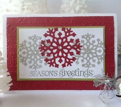 Handmade Christmas card; Bold snowflakes - red.