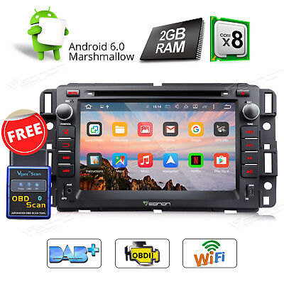 "7""Android 6.0 8Core Car DVD GPS Radio Head Unit for Chevrolet GMC Sierra OBDii W"