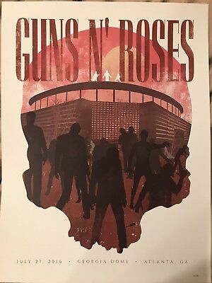 Guns N Roses Lithograph July 27, 2016 Georgia Dome Atlanta, Ga Poster