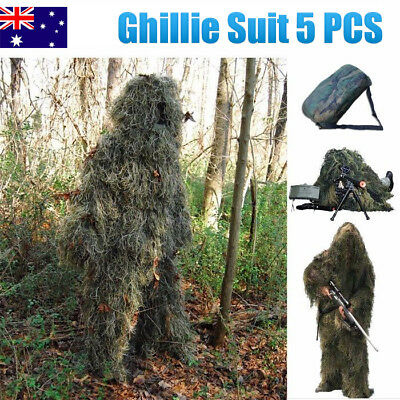 5 PCS Ghillie Suit Archery Sniper Hunting Woodland Camouflage Clothing 3D SZ M