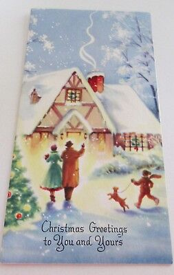 Used Vtg Christmas Card Greeting Friends at Snowy House w Puppy