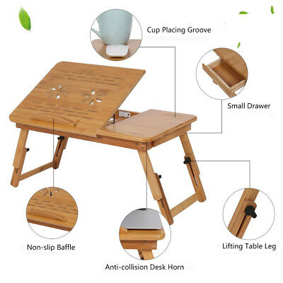Adjustable Folding Bamboo Notebook Laptop Lap Bed Stand Table Desk Tray W.Drawer