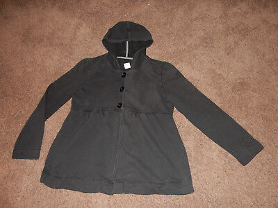 OLD NAVY BLACK MATERNITY HOODIE jacket button up sweater M medium swing empire