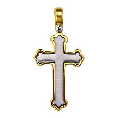 """18k solid two tone gold unique Orthodox cross(1.3""""inch/4.7gr)"""