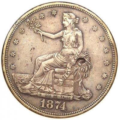 1874-CC Trade Silver Dollar T$1 Coin - Certified ANACS XF Details Chop Mark!