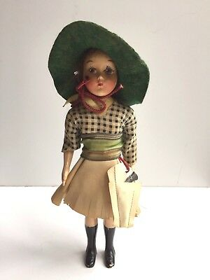 Vintage Cowgirl Doll Hand Painted Face with Pistol