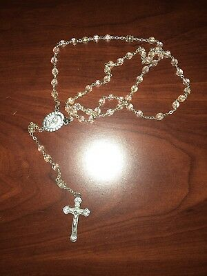 (2) † Vintage rosary beads cut crystal on sterling, Saint Therese†
