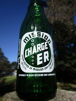 MISSION CHARGER soda bottle - Hires Bottling Co. - St. Louis, MO.  - NICE Mixer!