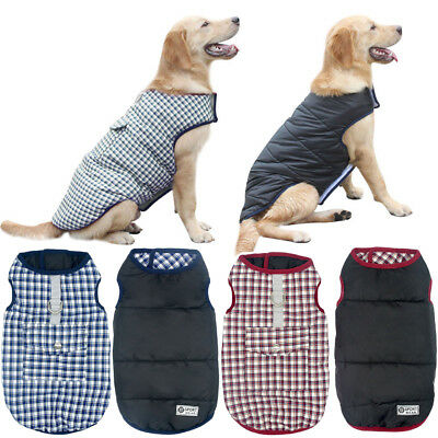 Waterproof Reversible Grid Dog Clothes Large Plaid Winter Small Dog Coats Yorkie
