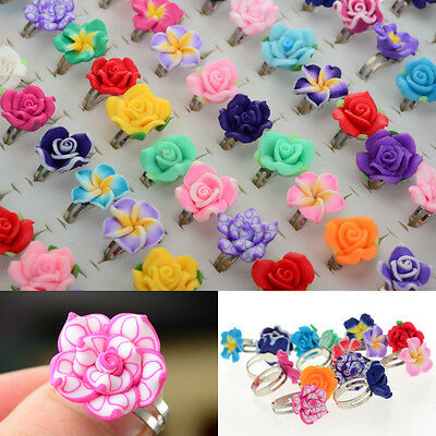 Hot !Wholesale 30pcs Jewelry Lots Mixed Adjustable Flower Crystal Children Ring