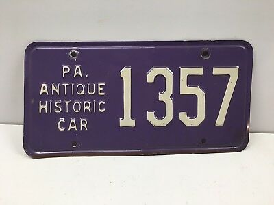 Vintage Pennsylvania PA Antique Historic Car Purple License Plate