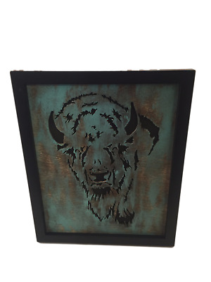 8x10 Bison Buffalo Wood Wall Art Home Decor Plaque Handcrafted Wildlife Free