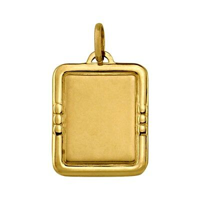 18k solid yellow gold(3.2gr)engravable pendant (16mm x 20mm)